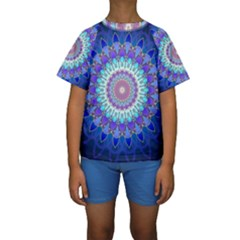 Power Flower Mandala   Blue Cyan Violet Kids  Short Sleeve Swimwear