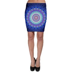 Power Flower Mandala   Blue Cyan Violet Bodycon Skirt