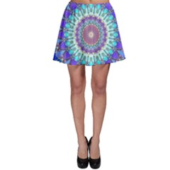Power Flower Mandala   Blue Cyan Violet Skater Skirt