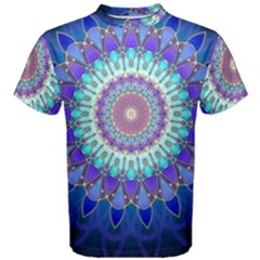 Power Flower Mandala   Blue Cyan Violet Men s Cotton Tee