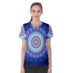 Power Flower Mandala   Blue Cyan Violet Women s Cotton Tee