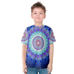 Power Flower Mandala   Blue Cyan Violet Kids  Cotton Tee