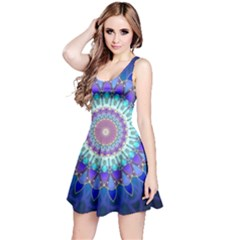 Power Flower Mandala   Blue Cyan Violet Reversible Sleeveless Dress