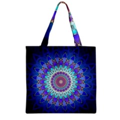 Power Flower Mandala   Blue Cyan Violet Grocery Tote Bag