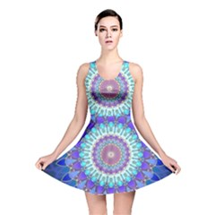 Power Flower Mandala   Blue Cyan Violet Reversible Skater Dress