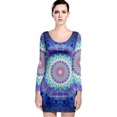 Power Flower Mandala   Blue Cyan Violet Long Sleeve Bodycon Dress