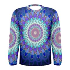 Power Flower Mandala   Blue Cyan Violet Men s Long Sleeve Tee