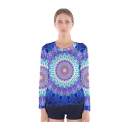 Power Flower Mandala   Blue Cyan Violet Women s Long Sleeve Tee