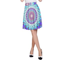 Power Flower Mandala   Blue Cyan Violet A-Line Skirt