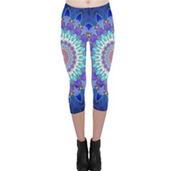 Power Flower Mandala   Blue Cyan Violet Capri Leggings