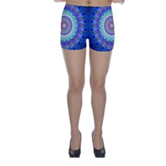Power Flower Mandala   Blue Cyan Violet Skinny Shorts