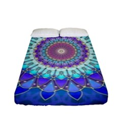 Power Flower Mandala   Blue Cyan Violet Fitted Sheet (Full/ Double Size)