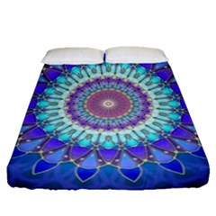 Power Flower Mandala   Blue Cyan Violet Fitted Sheet (Queen Size)