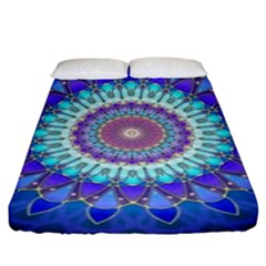 Power Flower Mandala   Blue Cyan Violet Fitted Sheet (King Size)