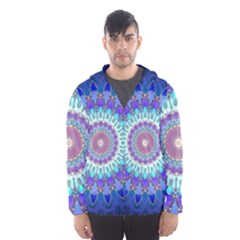Power Flower Mandala   Blue Cyan Violet Hooded Wind Breaker (Men)