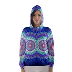 Power Flower Mandala   Blue Cyan Violet Hooded Wind Breaker (Women)