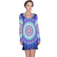 Power Flower Mandala   Blue Cyan Violet Long Sleeve Nightdress