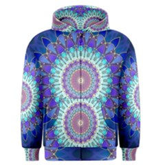 Power Flower Mandala   Blue Cyan Violet Men s Zipper Hoodie