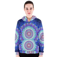 Power Flower Mandala   Blue Cyan Violet Women s Zipper Hoodie