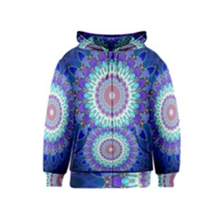 Power Flower Mandala   Blue Cyan Violet Kids  Zipper Hoodie