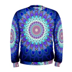 Power Flower Mandala   Blue Cyan Violet Men s Sweatshirt