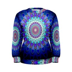 Power Flower Mandala   Blue Cyan Violet Women s Sweatshirt