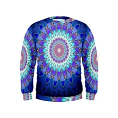 Power Flower Mandala   Blue Cyan Violet Kids  Sweatshirt