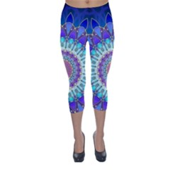Power Flower Mandala   Blue Cyan Violet Capri Winter Leggings