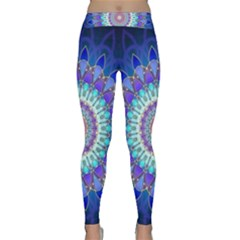 Power Flower Mandala   Blue Cyan Violet Classic Yoga Leggings