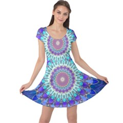 Power Flower Mandala   Blue Cyan Violet Cap Sleeve Dresses