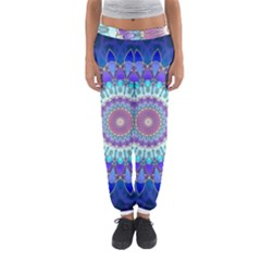 Power Flower Mandala   Blue Cyan Violet Women s Jogger Sweatpants
