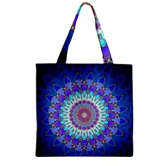 Power Flower Mandala   Blue Cyan Violet Zipper Grocery Tote Bag