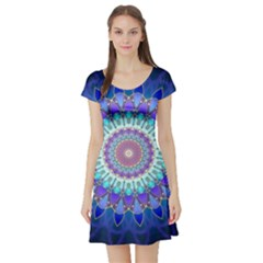 Power Flower Mandala   Blue Cyan Violet Short Sleeve Skater Dress