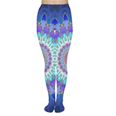Power Flower Mandala   Blue Cyan Violet Women s Tights