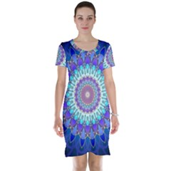 Power Flower Mandala   Blue Cyan Violet Short Sleeve Nightdress