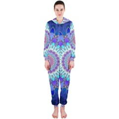 Power Flower Mandala   Blue Cyan Violet Hooded Jumpsuit (Ladies)