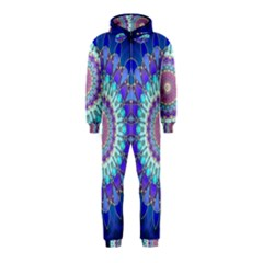 Power Flower Mandala   Blue Cyan Violet Hooded Jumpsuit (Kids)