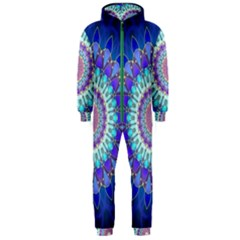 Power Flower Mandala   Blue Cyan Violet Hooded Jumpsuit (Men)