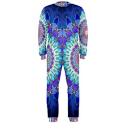 Power Flower Mandala   Blue Cyan Violet OnePiece Jumpsuit (Men)
