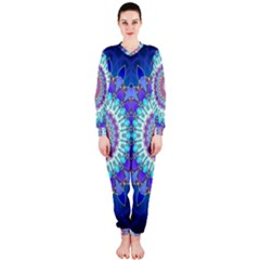 Power Flower Mandala   Blue Cyan Violet OnePiece Jumpsuit (Ladies)