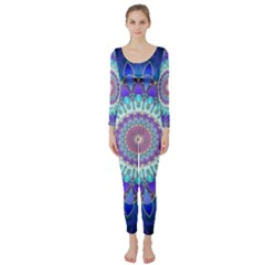 Power Flower Mandala   Blue Cyan Violet Long Sleeve Catsuit
