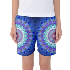 Power Flower Mandala   Blue Cyan Violet Women s Basketball Shorts