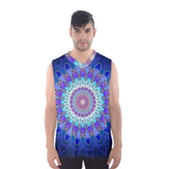Power Flower Mandala   Blue Cyan Violet Men s Basketball Tank Top
