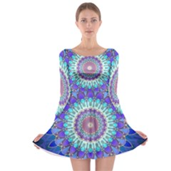Power Flower Mandala   Blue Cyan Violet Long Sleeve Skater Dress