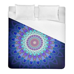 Power Flower Mandala   Blue Cyan Violet Duvet Cover (Full/ Double Size)