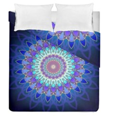 Power Flower Mandala   Blue Cyan Violet Duvet Cover Double Side (Queen Size)