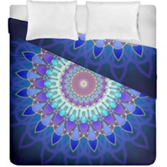 Power Flower Mandala   Blue Cyan Violet Duvet Cover Double Side (King Size)