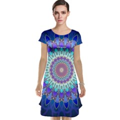 Power Flower Mandala   Blue Cyan Violet Cap Sleeve Nightdress