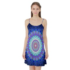 Power Flower Mandala   Blue Cyan Violet Satin Night Slip