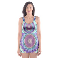 Power Flower Mandala   Blue Cyan Violet Skater Dress Swimsuit